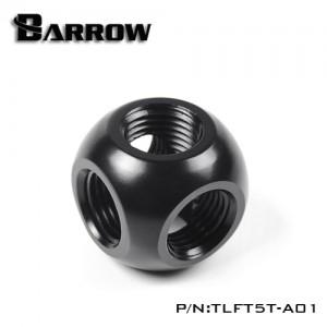"""Barrow G1/4"""" Thread 5-Way Block Splitter Fitting - Black (TLFT5T-A01)"""