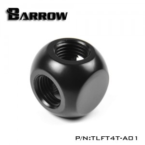 "Barrow G1/4"" Thread 4-Way Block Splitter Fitting - Black (TLFT4T-A01)"
