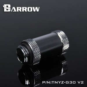 "Barrow G1/4"" 30mm Male to Female Extension Fitting - Silver (TNYZ-G30-V2-Silver)"