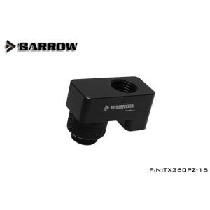 "Barrow G1/4"" 360° Rotary 15mm Offset Adapter Fitting - Black (TX360PZ-15)"