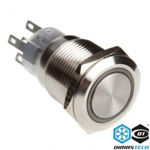 "DimasTech® 19mm Vandal Resistant ""Momentary"" Bulgin Switch - Silver Housing - Green LED (PD020)"