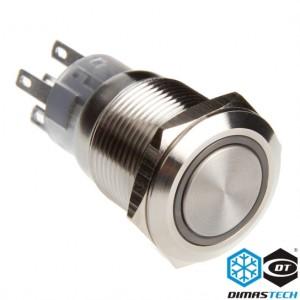 "DimasTech® 19mm Vandal Resistant ""Momentary"" Bulgin Switch - Silver Housing - Yellow LED (PD024)"