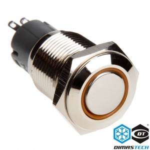 "DimasTech® 16mm Vandal Resistant ""Momentary"" Bulgin Switch - Silver Housing - Orange LED (PD011)"