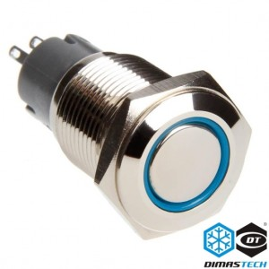 "DimasTech® 16mm Vandal Resistant ""Latching"" Bulgin Switch - Silver Housing - Blue LED (PD005)"