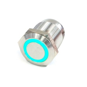 "Phobya Vandal Resistant ""Momentary"" Bulgin Switch - 23mm - Silver- Green Ring LED (71076)"