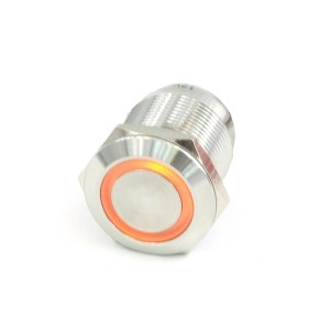"Phobya Vandal Resistant ""Momentary"" Bulgin Switch - 23mm - Silver - Orange Ring LED (71078)"