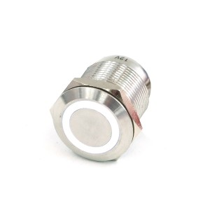"Phobya Vandal Resistant ""Momentary"" Bulgin Switch - 23mm - Silver - White Ring LED (71079)"