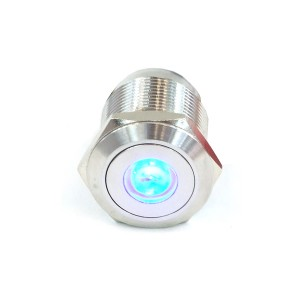 "Phobya Vandal Resistant ""Momentary"" Bulgin Switch - 23mm - Silver - Blue Dot LED  (71080)"