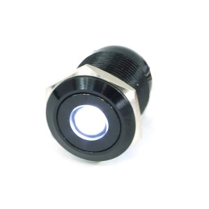 "Phobya Vandal Resistant ""Momentary"" Bulgin Switch - 23mm - Black - White Dot LED (71093)"
