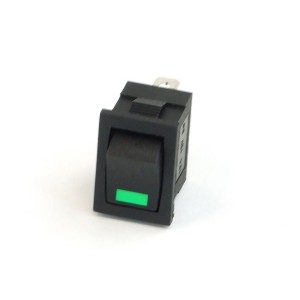Phobya Rectangular Rocking Switch - On/OFF - Black - Green - LED (71100)