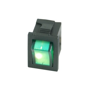 Phobya Rectangular Rocking Switch - Black - ON/OFF - Green - Full Lense LED (71113)