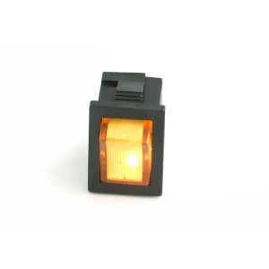 Phobya Rectangular Rocking Switch - Black - ON/OFF - Yellow - Full Lense LED (71115)