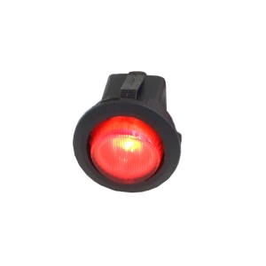 Phobya Round Rocking Switch - ON/OFF - Black - Red - LED (71118)