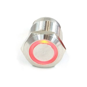 "Phobya ""Momentary"" Bulgin Switch - 22mm - Silver - Red - Ring LED - Screw-On Contacts  (71130)"