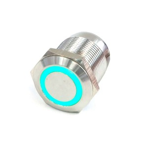 "Phobya ""Momentary"" Bulgin Switch - 22mm - Silver - Green - Ring LED - Screw-On Contacts  (71132)"