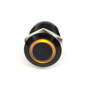 "Phobya ""Momentary"" Bulgin Switch - 22mm - Black - Yellow - Ring LED - Screw-On Contacts (71139)"