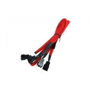 Phobya 3-Pin Fan to 4x 3-Pin Fan Breakout Cable - 60cm | UV Red (81041)