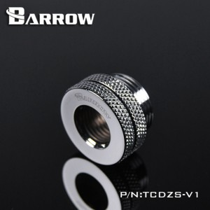 "Barrow G1/4"" Threaded Female to Female Pass-Through Fitting - Silver (TCDZS-V2-Silver)"
