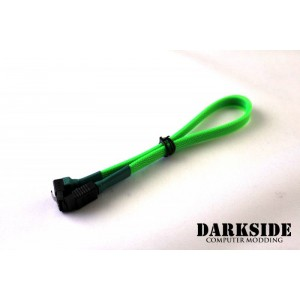 "Darkside 30cm (12"") SATA 3.0 180° to 90°  Data Cable with Latch - Green UV (DS-0080)"