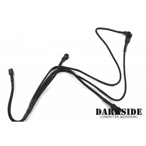 Darkside 3-pin Quad Radiator Standard Fan Power Y-Cable Splitter - Jet Black (DS-0097)