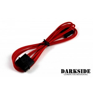 """Darkside 4-Pin MOLEX 12"""" (30cm) HSL Single Braid Extension Cable - Red UV (DS-0107)"""