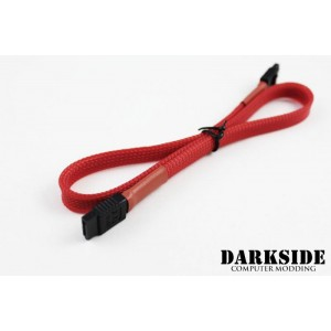 "Darkside 45cm (18"") SATA 3.0 180° to 180°  Data Cable with Latch - Red UV (DS-0154)"