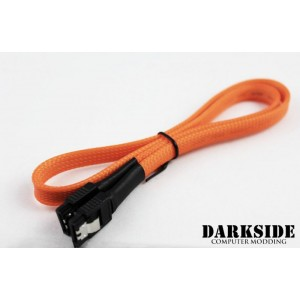 """Darkside 60cm (24"""") SATA 3.0 180° to 180°  Data Cable with Latch - UV Orange (DS-0169)"""