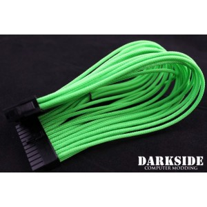 "Darkside 24-Pin ATX 12"" (30cm) HSL Single Braid Extension Cable - Green UV (DS-0239)"