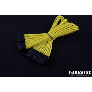 "Darkside 24-Pin ATX 12"" (30cm) HSL Single Braid Extension Cable - Yellow II UV (DS-0434)"