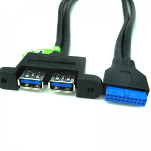 ModMyMods USB 3.0 20-Pin to Dual Type-A Extension Cable with Panel Mounts (CAB248)