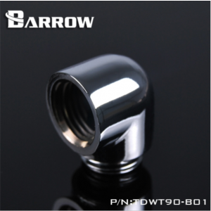 "Barrow G1/4"" 90 Degree Male to Female Angled Adaptor Fitting - Silver (TDWT90-B01-Silver)"