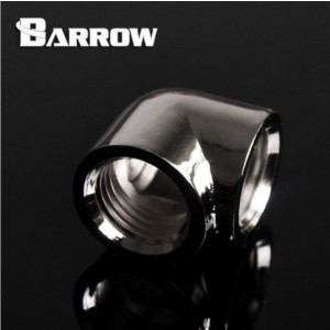 "Barrow G1/4"" 90 Degree Female to Female Angled Adaptor Fitting - Silver (TDWT90SN-V2-Silver)"