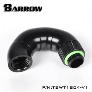 "Barrow G1/4"" 180 Degree Male to Female Quad Rotary Snake Adaptor - Black (TSNW1804-V1)"