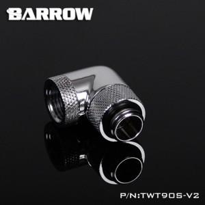 "Barrow G1/4"" 90 Degree Dual Rotary Adaptor Fitting - Silver (TWT90S-V2-Silver)"