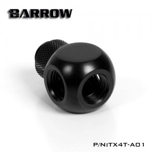 "Barrow G1/4"" Thread Rotary 4-Way Block Splitter Fitting - Black (TX4T-A01)"