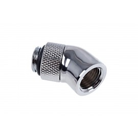 "Alphacool Eiszapfen G1/4"" 45 Degree Angled Rotatable Adapter Fitting - Chrome (17247)"