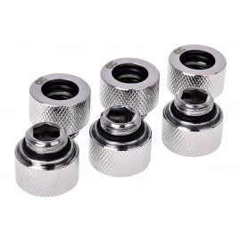 Alphacool HT 12mm HardTube Compression Fitting G1/4 for Carbon Tubes  - Knurled - Chrome - Six Pack (17380)