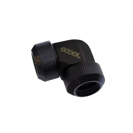 Alphacool Eiszapfen 13mm HardTube Compression Fitting 90° L-Connector - Knurled - Deep Black (17444)