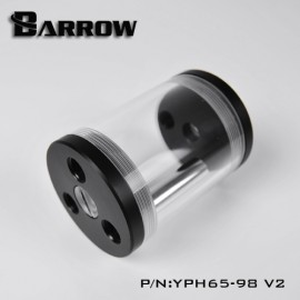 Barrow 98mm Transparent Mutliport Reservoir - Acrylic/Acetal - Black (YPH65-98-V2)