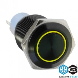 "DimasTech® 19mm Vandal Resistant ""Latching"" Bulgin Switch - Black Housing - Yellow LED (PD042)"