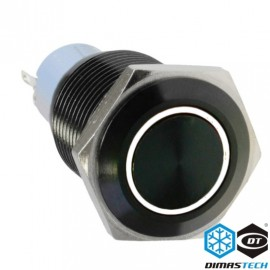 "DimasTech® 16mm Vandal Resistant ""Latching"" Bulgin Switch - Black Housing - White LED (PD027)"