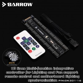 Barrow LRC2.0 Compatible 16-Way 12V/5V Manual Lighting/Fan Controller with Remote (DK301-16)