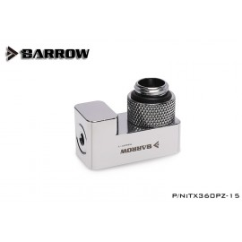 "Barrow G1/4"" 360° Rotary 15mm Offset Adapter Fitting - Silver (TX360PZ-15-Silver)"
