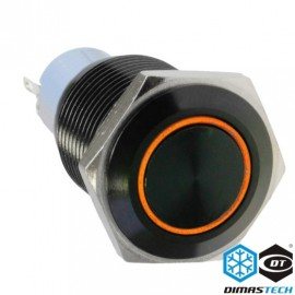 "DimasTech® 16mm Vandal Resistant ""Latching"" Bulgin Switch - Black Housing - Orange LED (PD029)"