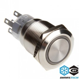 "DimasTech® 19mm Vandal Resistant ""Latching"" Bulgin Switch - Silver Housing - Green LED (PD014)"