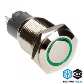 "DimasTech® 16mm Vandal Resistant ""Latching"" Bulgin Switch - Silver Housing - Green LED (PD006)"