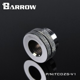 "Barrow G1/4"" Threaded Female to Female Pass-Through Fitting - Silver (TCDZS-V1-Silver)"