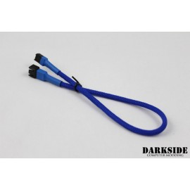 "Darkside 3-Pin 30cm (12"") M/F Fan Sleeved Cable - Dark Blue UV (DS-0244)"