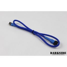 "Darkside 3-Pin 40cm (16"") M/F Fan Sleeved Cable - Dark Blue UV (DS-0248)"