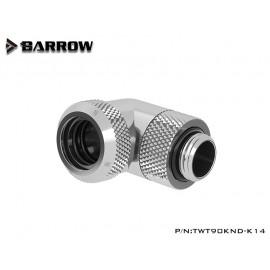 "Barrow G1/4"" 90 Degree Rotary Multi-Link Adapter - 14mm OD Rigid Tube - Silver (TWT90KND-K14-Silver)"